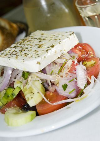 chili's restaurant: greek salad with feta cheese as photographed in a greek island taverna restaurant