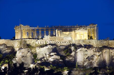 ancient parthenon temple acropolis architecture reconstruction night scene athens greece