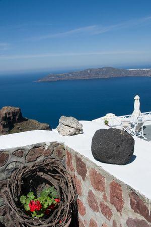 caldera view of aegean sea and volcanic islands imerovigli santorini thira in greek islands Stock Photo - 5050835