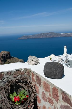 caldera view of aegean sea and volcanic islands imerovigli santorini thira in greek islands Stock Photo - 5050835