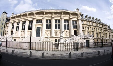 the palais de justice (palace of justice) government court building in paris france in a fish eye wide angle view Imagens