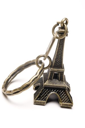 purchased: souvenir key chain memento of the famous eiffel tour purchased in paris france Stock Photo