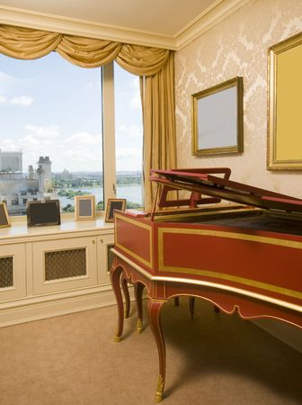 penthouse: harpsichord in luxurious penthouse bedroom suite with view of the east river in new york city Stock Photo