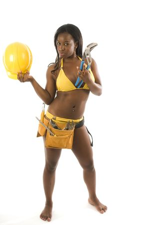 sexy hispanic black woman contractor construction woman in bikini with tools and hard hat helmet