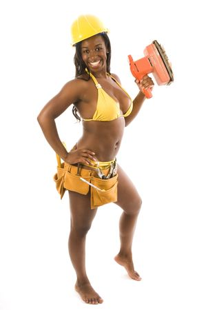 bikini construction: sexy hispanic black woman contractor construction woman in bikini with tools and hard hat helmet