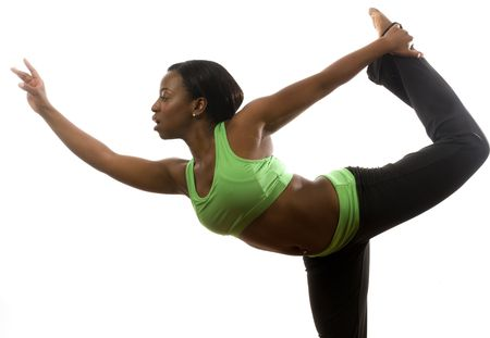 young and pretty hispanic latina black woman wearing exercise tights and working out with dance ballet movements photo