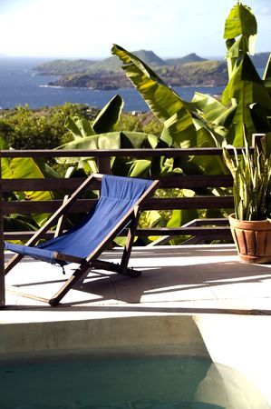 luxury caribbean bequia island villa hotel pool with view of mustique battowia baliceaux  grenadine islands of st. vincent photo