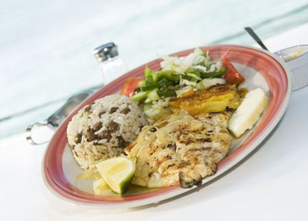 grenadines: caribbean style grilled filet of cavalli kingfish with garden salad rice beans and pumpkin squash with view of admiralty bay as photographed in bequia st. vincent and the grenadines