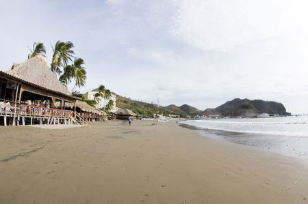 sur: beachfront scene san juan del sur nicaragua with restaurants and hotels on pacific ocean