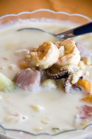 bowl of mixta sopa mixed seafood soup chowder photographed in nicaragua photo