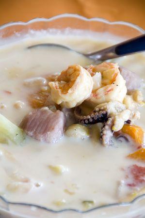 sopa: bowl of mixta sopa mixed seafood soup chowder photographed in nicaragua