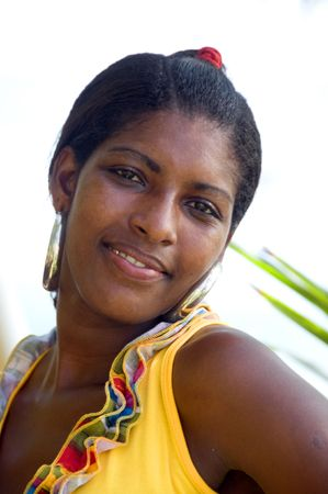 smiling native nicaragua pretty and attractive young black woman portrait against coconut tree in the tropics central america Stock Photo - 6525046