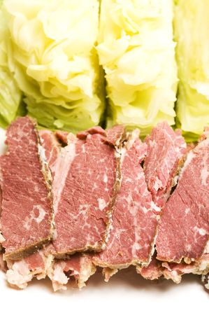 corned beef meat slices and cabbage for st. patricks day