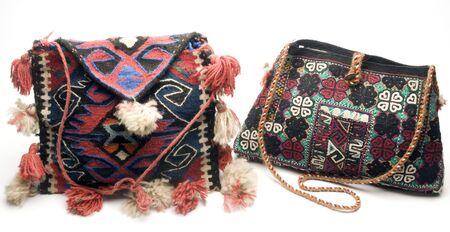 macro detail of hand made knitted kilm turkish handbag patterns made in turkey Imagens