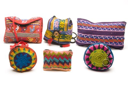 coin purses: group of colorful handbags purses coin change holders and satchels made in honduras panama guatemala nicaragua in central america