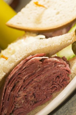 combination: combination tongue and corned beef sandwich on rye