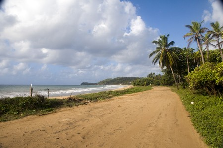 dirt road undeveloped beach Long Bay Corn Island Nicaragua Central America Stock Photo - 6971444
