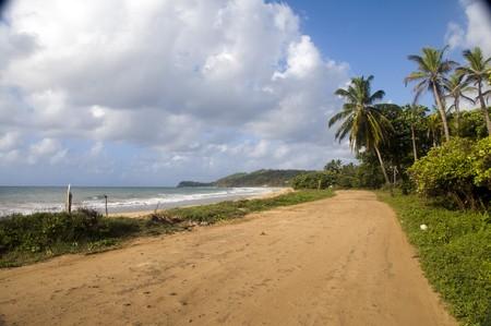 long bay: dirt road undeveloped beach Long Bay Corn Island Nicaragua Central America