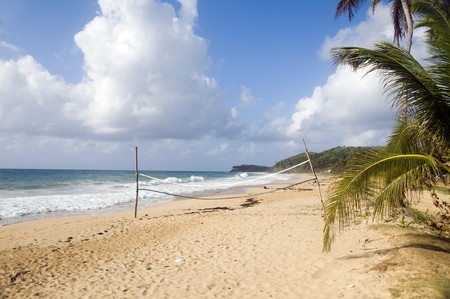 volley ball sports court on  undeveloped beach long bay big corn island nicaragua central americ Stock Photo - 6971443