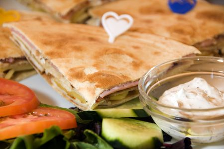 limassol: mediterranean sandwich in Limassol Lemesos Cyprus mexican pita bread halloumi cheese feta cheese bacon tomato tzatiki lettuce cucumber