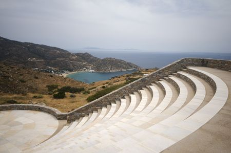 modern amphitheater overlooking the Aegean Sea and Milopotas Mylopotas beach on Cyclades Island of Ios Greece