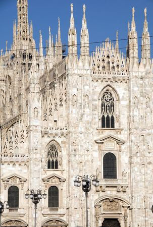 architecture detail of restored the Duomo historic cathedral Milan Italy Europe Stock Photo - 7179294
