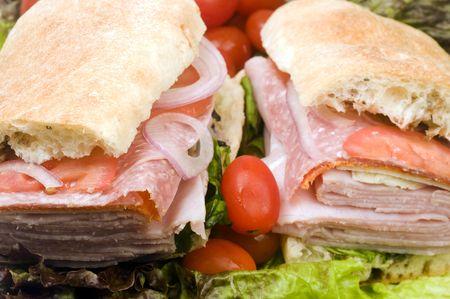 gourmet expensive italian hero sandwich ciabatta bread ham salami prosciutto red onions radicchio  photo