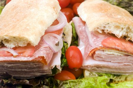 gourmet expensive italian hero sandwich ciabatta bread ham salami prosciutto red onions radicchio  photo