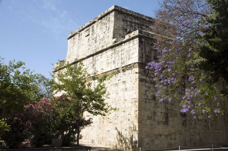 historic Limassol Lemessos Castle with flowering shrub plant Cyprus Mediterranean Imagens