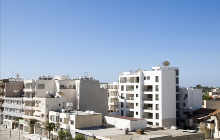 rooftop cityscape view of Larnaca Cyprus hotels condos apartments offices Фото со стока
