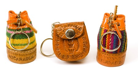mini purse: variety keychain leather change purse mini satchel souvenir made in Nicaragua