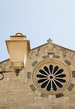 sud: architectural detail Corse Du Sud Church of Sainte Marie Majeure in upper city Bonifacio Corsica