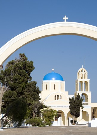 ia: entry to classic blue dome greek orthodox church and cathedral in oia ia santorini greek cyclades island greece