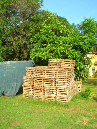 lobster pot:   group of lobster pot traps in yard next to covered panga boat Big Corn Island Nicaragua