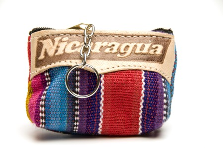 souvenir memento key chain change purse hand made woven colorful fabric made in Nicaragua