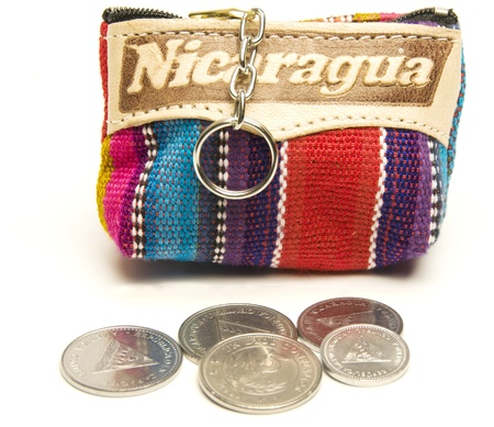 change purse: souvenir memento key chain change purse hand made woven colorful fabric made in Nicaragua with cordoba coins