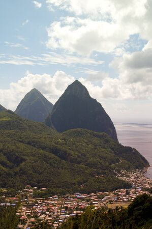 st lucia: panoramic view of Soufriere St. Lucia the Caribbean and the famous twin piton mountains