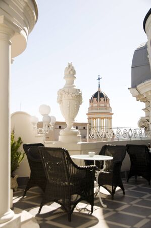 Rooftop Cafe With Architecture View Of Cathedral On Gran Via Madrid Spain Stock Photo
