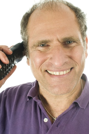 boomer: happy handsome middle age senior man business service rep happy  talking on telephone Stock Photo
