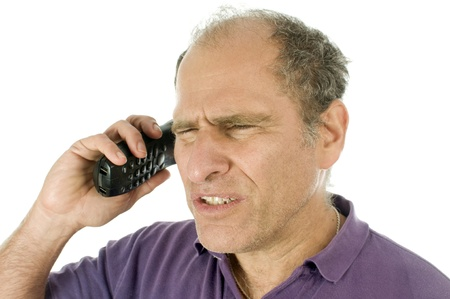 phone service: happy handsome middle age senior man emotion angry shocked upset talking on telephone Stock Photo