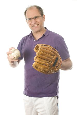 handsome middle age senior man softball throwing into baseball glove on white background photo