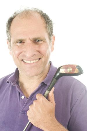 happy handsome middle age senior golfer man wood golf club photo