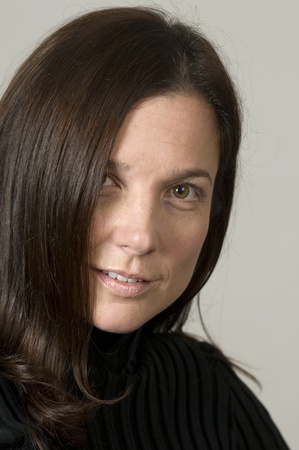 middle age women: attractive middle age woman brunette head shot