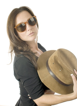 middle age women: sexy middle age woman fashion portrait head shot with fedora hat and sunglasses Stock Photo