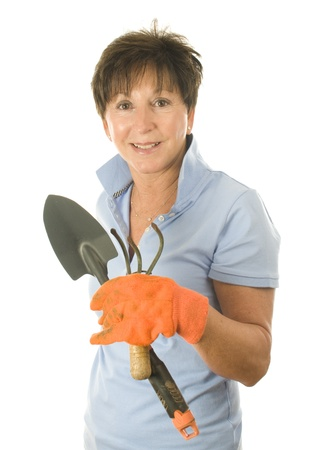 Cute Middle Age Senior Woman Garden Gloves And Hand Tools Stock Photo    10748566