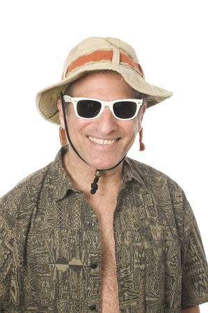 55 to 60: smiling middle age senior tourist male wearing sun hat and white sunglasses