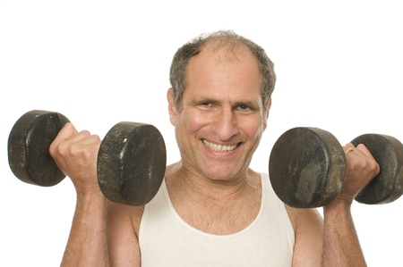 middle age senior man working out exercising with dumbbell weights photo