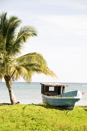 Abandonada la pesca de madera barco de palmeras Corn Island Nicaragua Foto de archivo - 11221394