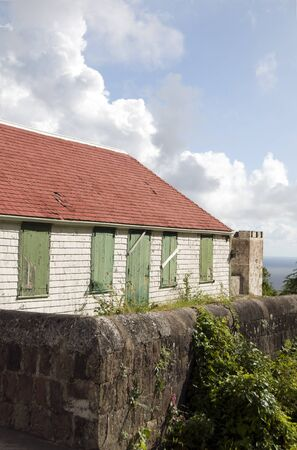 saba: typical house architecture style old historic cottage Windwardside Saba Dutch Netherlands  Antilles Caribbean sea view Editorial
