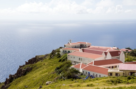 dutch: village typical house business school architecture on cliff over Caribbean Sea on The Road Saba Dutch Netherlands  Antilles